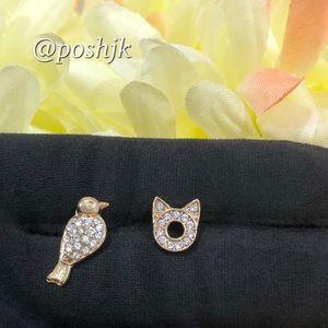 NWT Sarah & Co. Cat & Bird Earrings